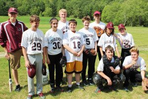 Alex Bigelow '14 and the 2015 baseball team, one of many Academy groups he shepherded during his gap year.