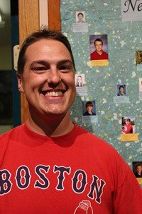 Kyle Forgey '01 stopped byduring summer 2014, and posed upon request next to a photo of new student Kyle Nitzsche '19 - same name, similar smile...