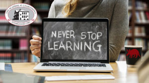 Never Stop Learning with logo